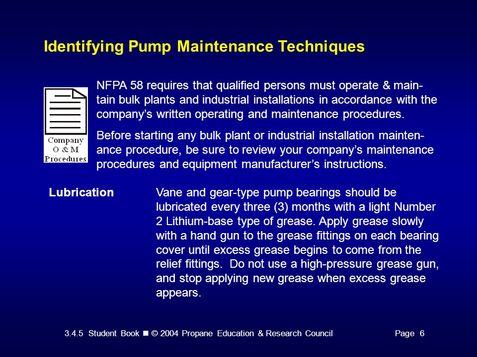 3.4.5 Student Book © 2004 Propane Education & Research CouncilPage 16 Other Pump Protective Devices Maintaining Automatic Bypass Valves The bypass valve should be set at least 15 to 20 psi below the pump's internal relief valve setting.