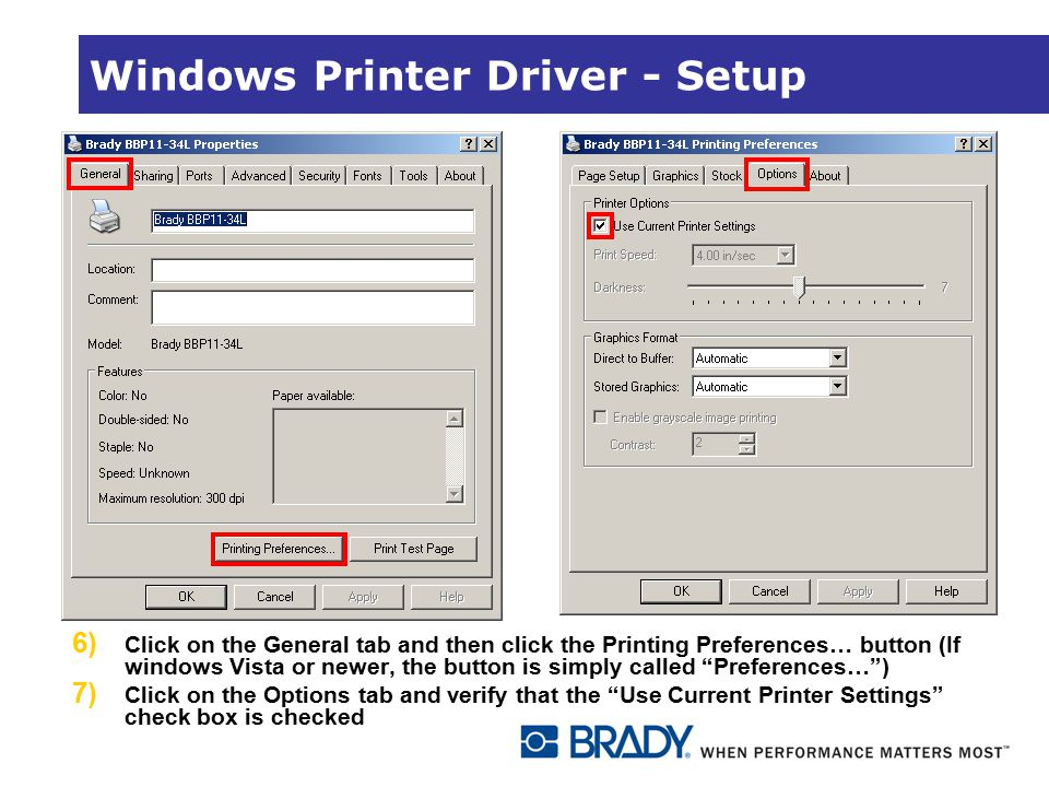 Windows Printer Driver - Setup 6) Click on the General tab and then click the Printing Preferences… button (If windows Vista or newer, the button is s