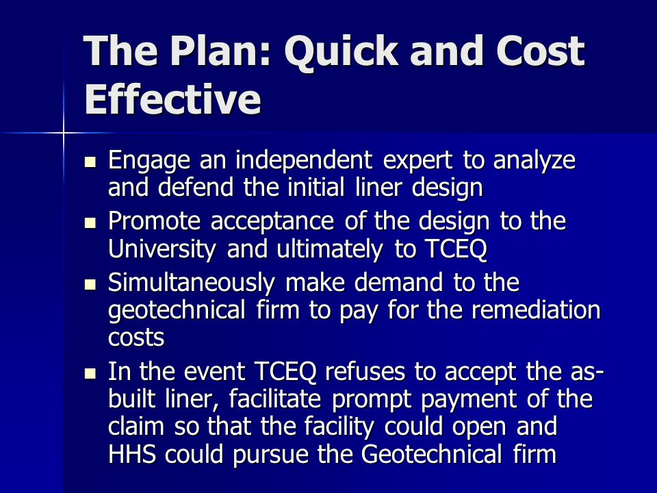 The Plan: Quick and Cost Effective Engage an independent expert to analyze and defend the initial liner design Engage an independent expert to analyze