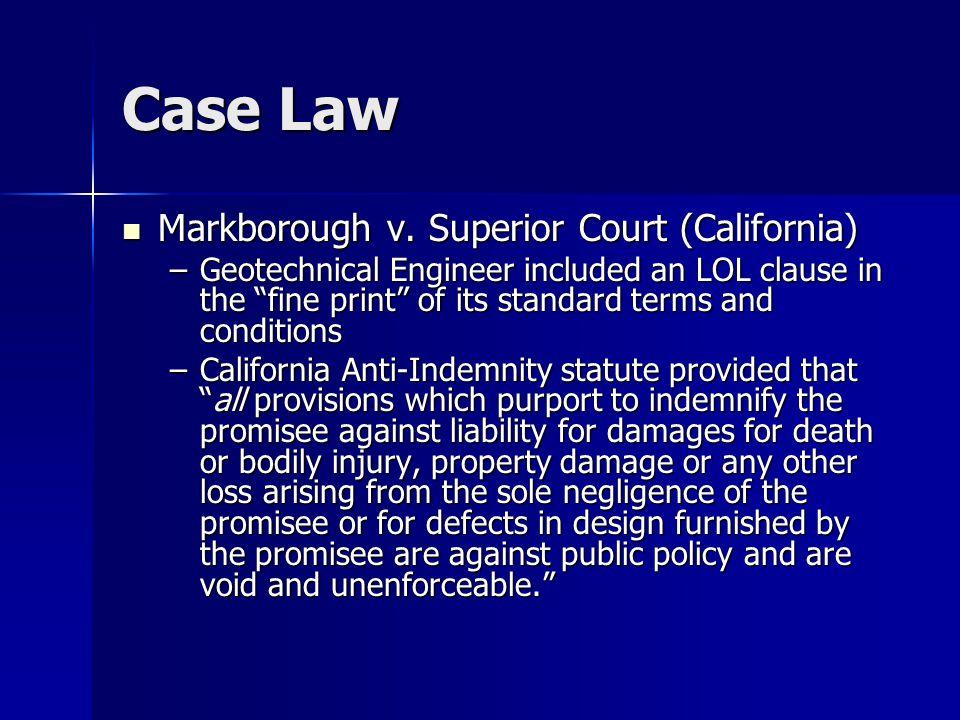 Case Law Markborough v. Superior Court (California) Markborough v.