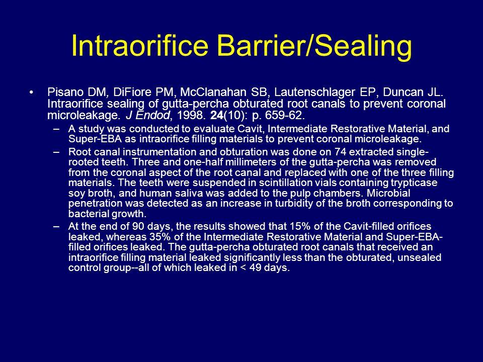 Intraorifice Barrier/Sealing Pisano DM, DiFiore PM, McClanahan SB, Lautenschlager EP, Duncan JL. Intraorifice sealing of gutta-percha obturated root c
