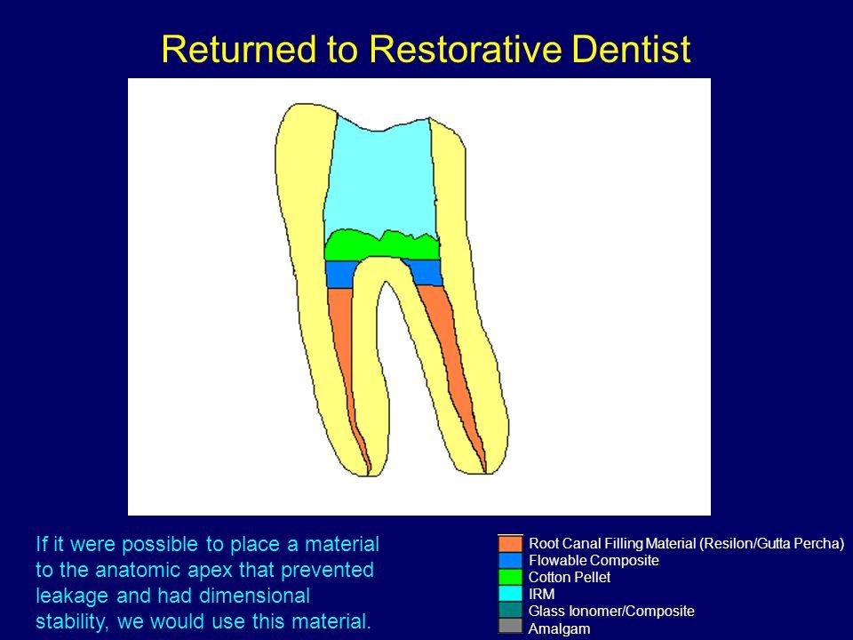 Root Canal Filling Material (Resilon/Gutta Percha) Flowable Composite Cotton Pellet IRM Glass Ionomer/Composite Amalgam Returned to Restorative Dentis