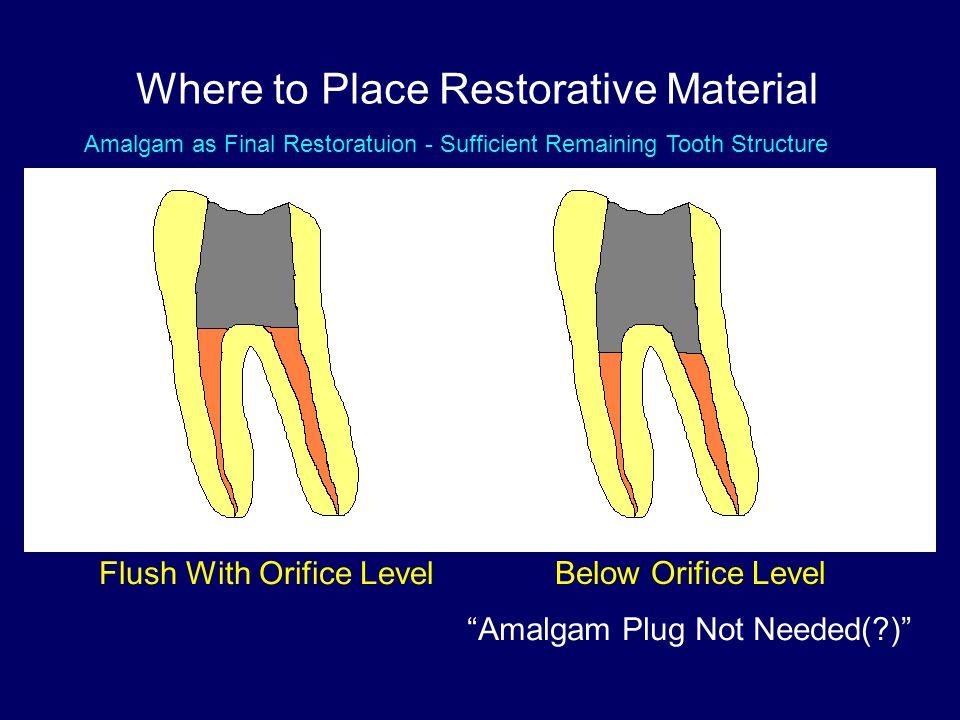 "Where to Place Restorative Material Flush With Orifice Level Below Orifice Level ""Amalgam Plug Not Needed(?)"" VS Amalgam as Final Restoratuion - Suffi"