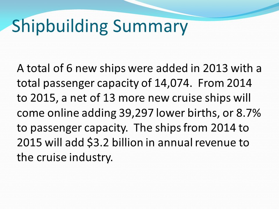Shipbuilding Summary A total of 6 new ships were added in 2013 with a total passenger capacity of 14,074.