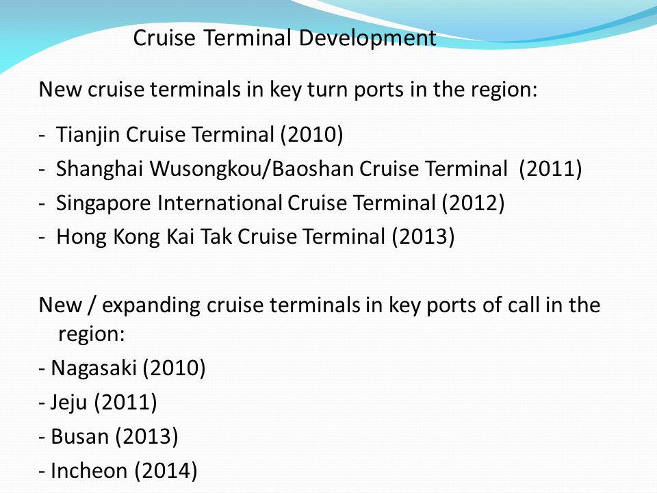 Cruise Terminal Development New cruise terminals in key turn ports in the region: - Tianjin Cruise Terminal (2010) - Shanghai Wusongkou/Baoshan Cruise Terminal (2011) - Singapore International Cruise Terminal (2012) - Hong Kong Kai Tak Cruise Terminal (2013) New / expanding cruise terminals in key ports of call in the region: - Nagasaki (2010) - Jeju (2011) - Busan (2013) - Incheon (2014)