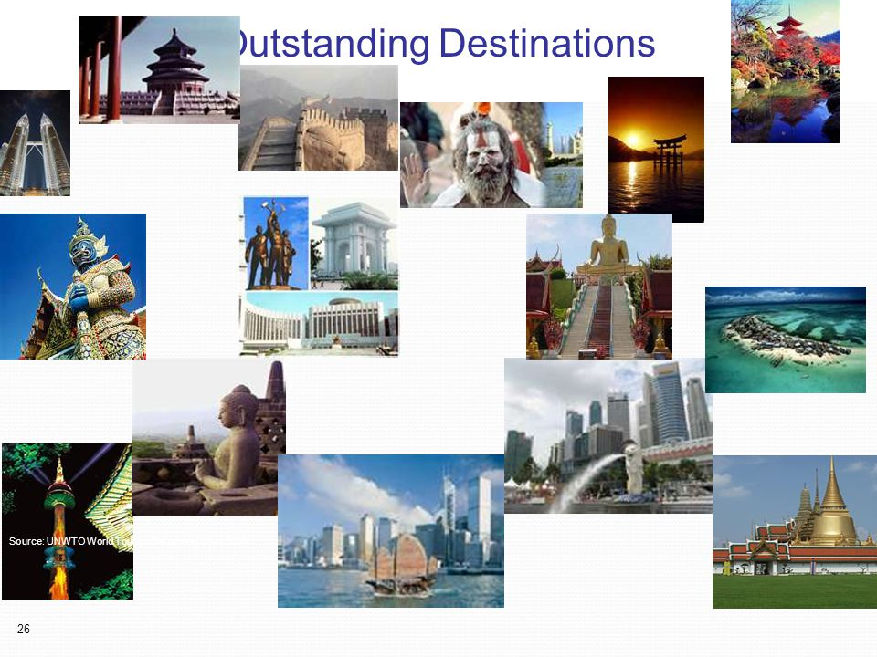 26 Outstanding Destination Source: UNWTO World Tourism Barometer June 2008 Outstanding Destinations