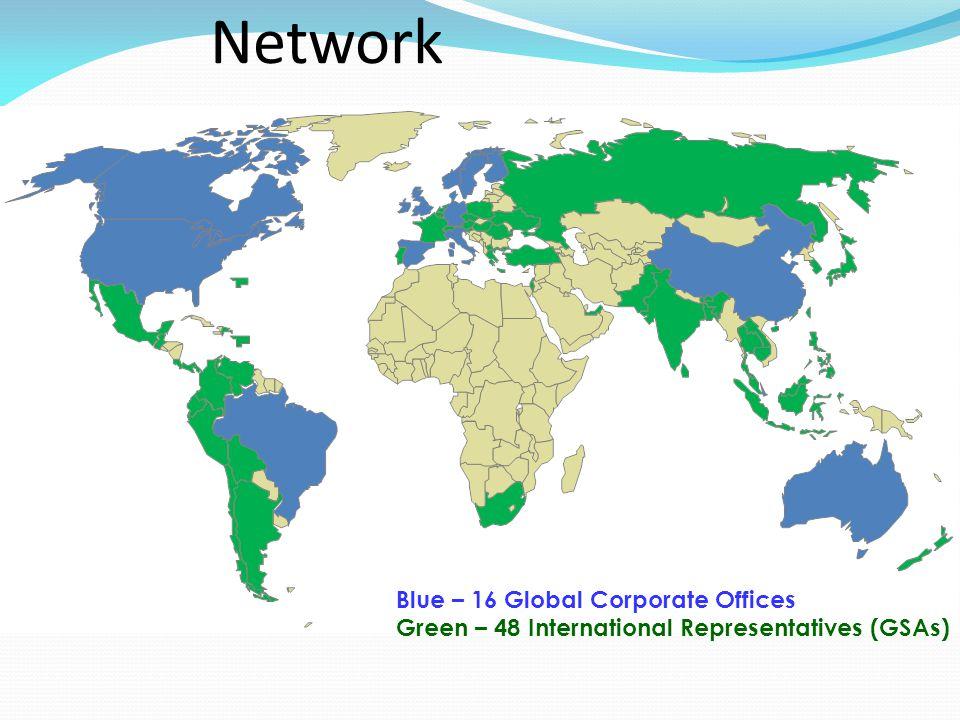 Blue – 16 Global Corporate Offices Green – 48 International Representatives (GSAs) Worldwide Distribution Network
