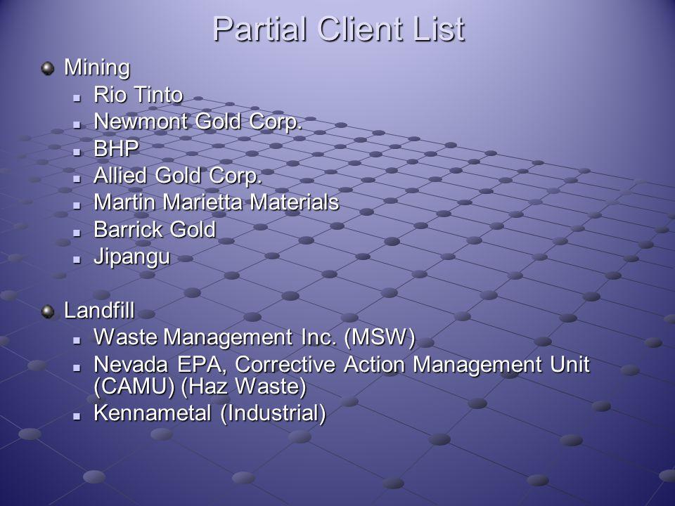 Partial Client List Mining Rio Tinto Rio Tinto Newmont Gold Corp. Newmont Gold Corp. BHP BHP Allied Gold Corp. Allied Gold Corp. Martin Marietta Mater