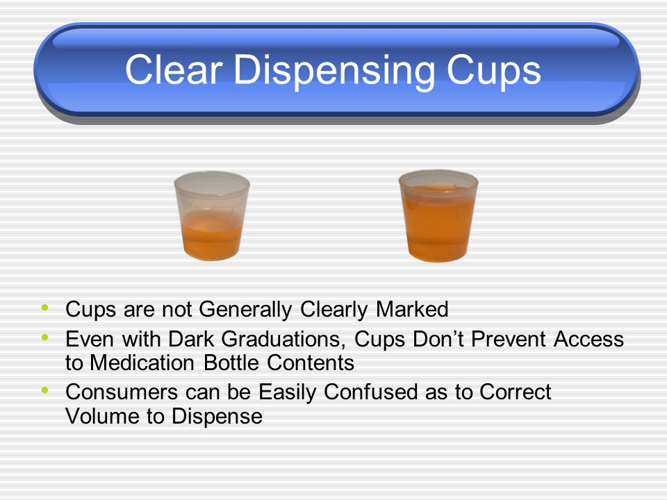 Clear Dispensing Cups Cups are not Generally Clearly Marked Even with Dark Graduations, Cups Don't Prevent Access to Medication Bottle Contents Consumers can be Easily Confused as to Correct Volume to Dispense