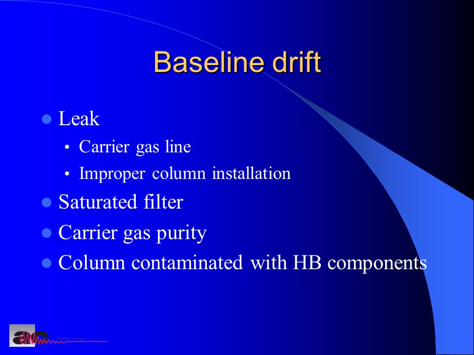 Baseline drift Leak Carrier gas line Improper column installation Saturated filter Carrier gas purity Column contaminated with HB components