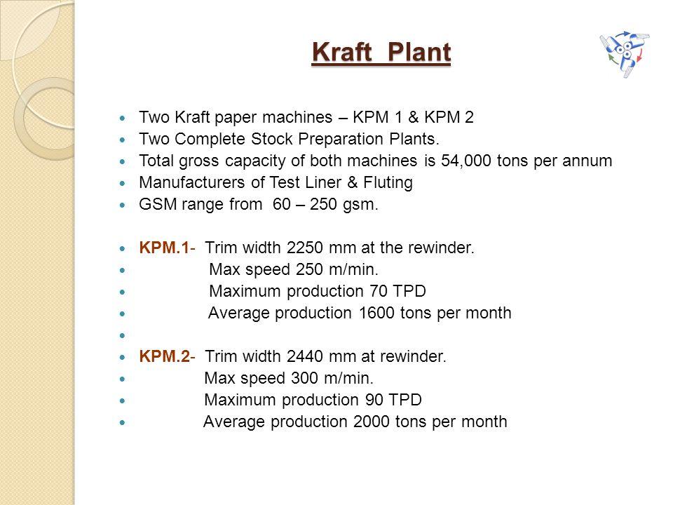 Kraft Plant Two Kraft paper machines – KPM 1 & KPM 2 Two Complete Stock Preparation Plants.