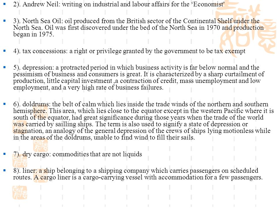  2). Andrew Neil: writing on industrial and labour affairs for the 'Economist  3).