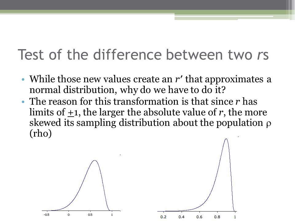 Test of the difference between two rs While those new values create an r′ that approximates a normal distribution, why do we have to do it? The reason