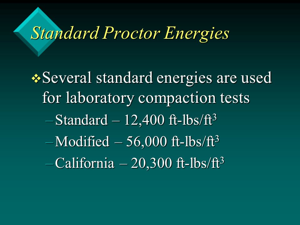 Standard Proctor Energies v Several standard energies are used for laboratory compaction tests –Standard – 12,400 ft-lbs/ft 3 –Modified – 56,000 ft-lb