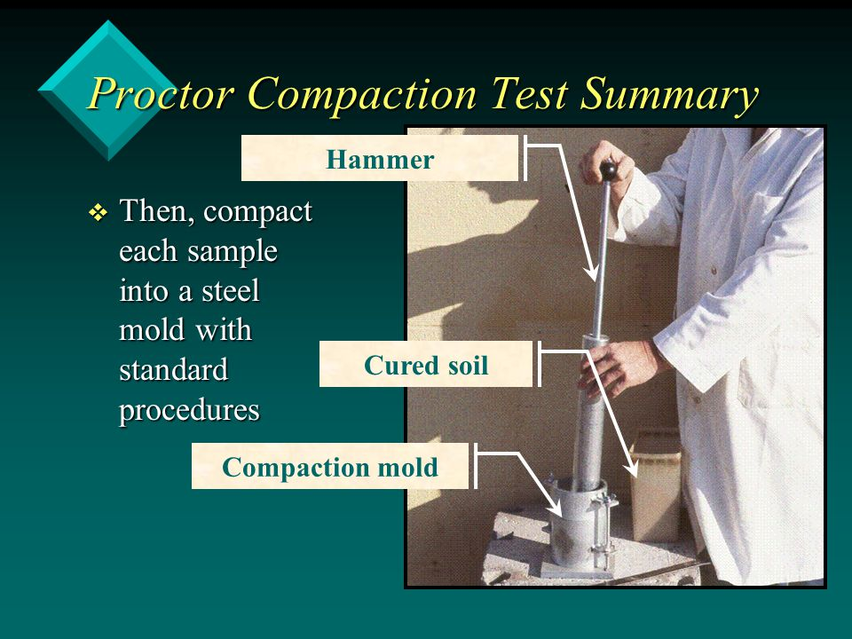 Proctor Compaction Test Summary v Then, compact each sample into a steel mold with standard procedures Compaction mold Cured soil Hammer