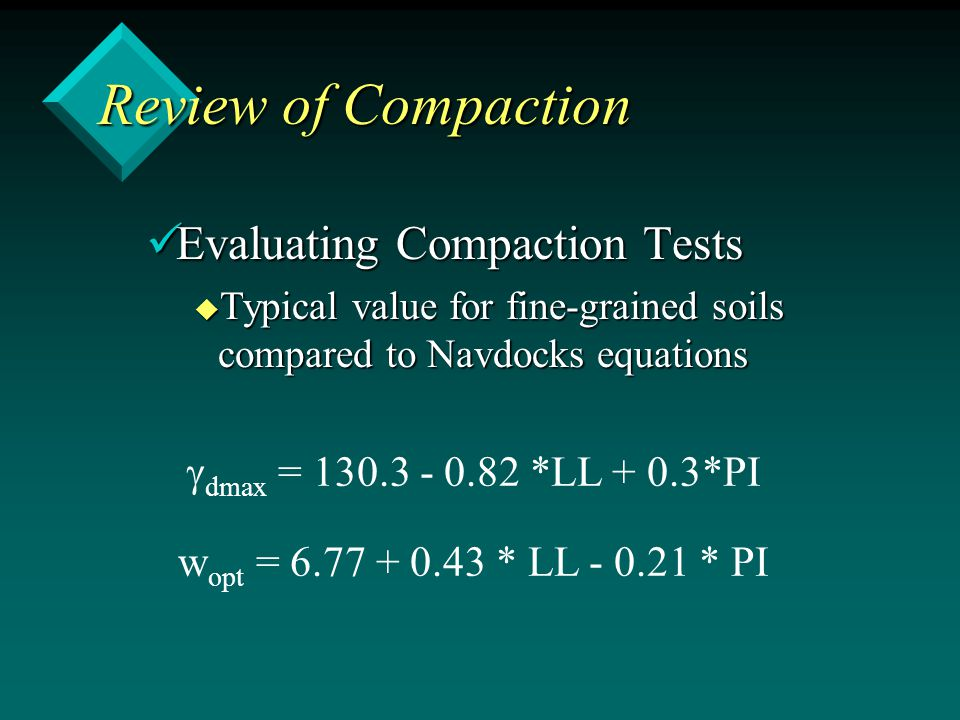 Evaluating Compaction Tests Evaluating Compaction Tests u Typical value for fine-grained soils compared to Navdocks equations  dmax = 130.3 - 0.82 *L
