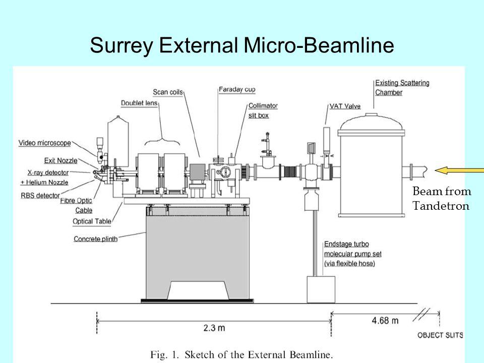 Surrey External Micro-Beamline Beam from Tandetron