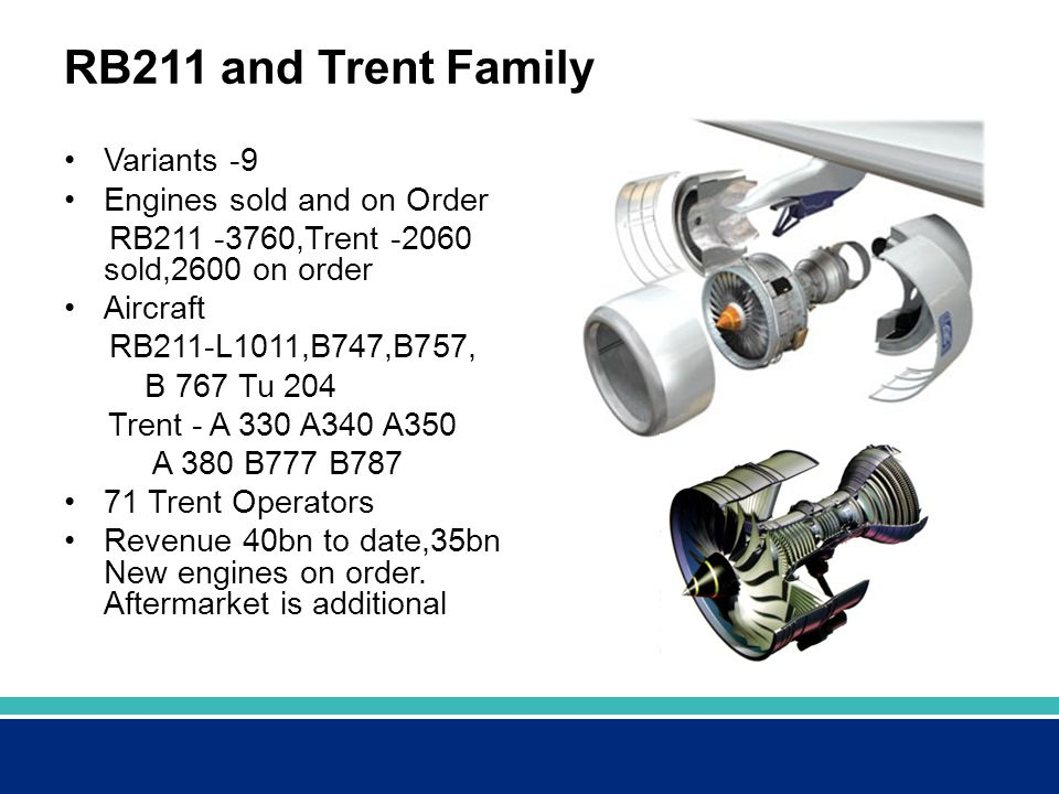 RB211 and Trent Family Variants -9 Engines sold and on Order RB211 -3760,Trent -2060 sold,2600 on order Aircraft RB211-L1011,B747,B757, B 767 Tu 204 Trent - A 330 A340 A350 A 380 B777 B787 71 Trent Operators Revenue 40bn to date,35bn New engines on order.