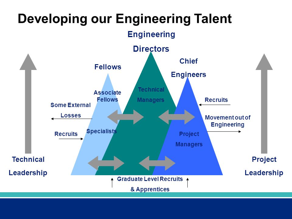 Developing our Engineering Talent Engineering Directors Fellows Chief Engineers Technical Leadership Project Leadership Recruits Graduate Level Recrui