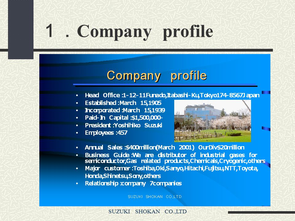 SUZUKI SHOKAN CO.,LTD Introduction of Cryogenic Division 1. Company profile 2. History of Cryogenic Division 3. Contents of Business 4. Major Customer