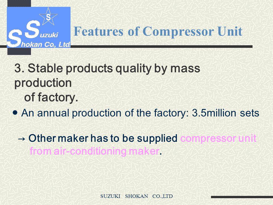 SUZUKI SHOKAN CO.,LTD Features of Compressor Unit 2. The world maximum class of Helium discharging capacity.