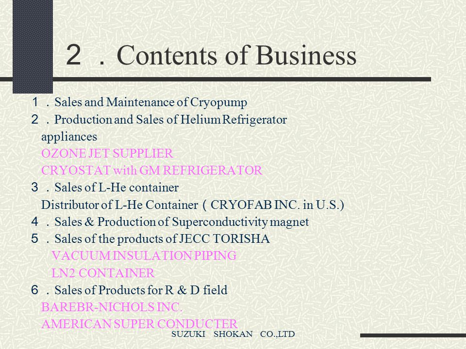 SUZUKI SHOKAN CO.,LTD 1. History of Cryogenic Division * 1979 Entered Cryopump market * 1983 Established joint venture company JECC with CVI in U.S. *