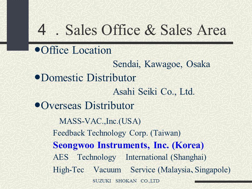 SUZUKI SHOKAN CO.,LTD 4. Sales Office & Sales Area ● Office Location Sendai, Kawagoe, Osaka ● Domestic Distributor Asahi Seiki Co., Ltd.