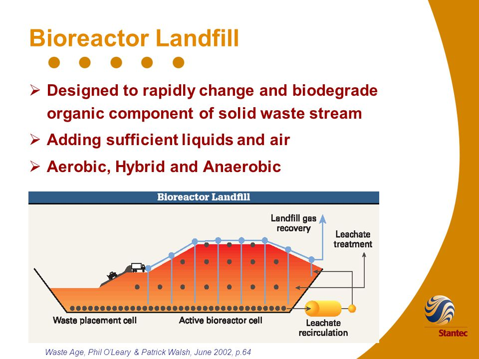 Bioreactor Landfill  Designed to rapidly change and biodegrade organic component of solid waste stream  Adding sufficient liquids and air  Aerobic, Hybrid and Anaerobic Waste Age, Phil O'Leary & Patrick Walsh, June 2002, p.64