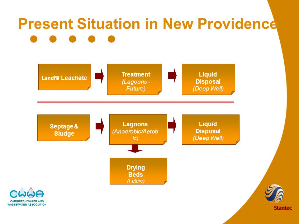 Present Situation in New Providence Landfill Leachate Liquid Disposal (Deep Well) Treatment (Lagoons - Future) Septage & Sludge Lagoons (Anaerobic/Aerob ic ) Drying Beds (Future) Liquid Disposal (Deep Well)