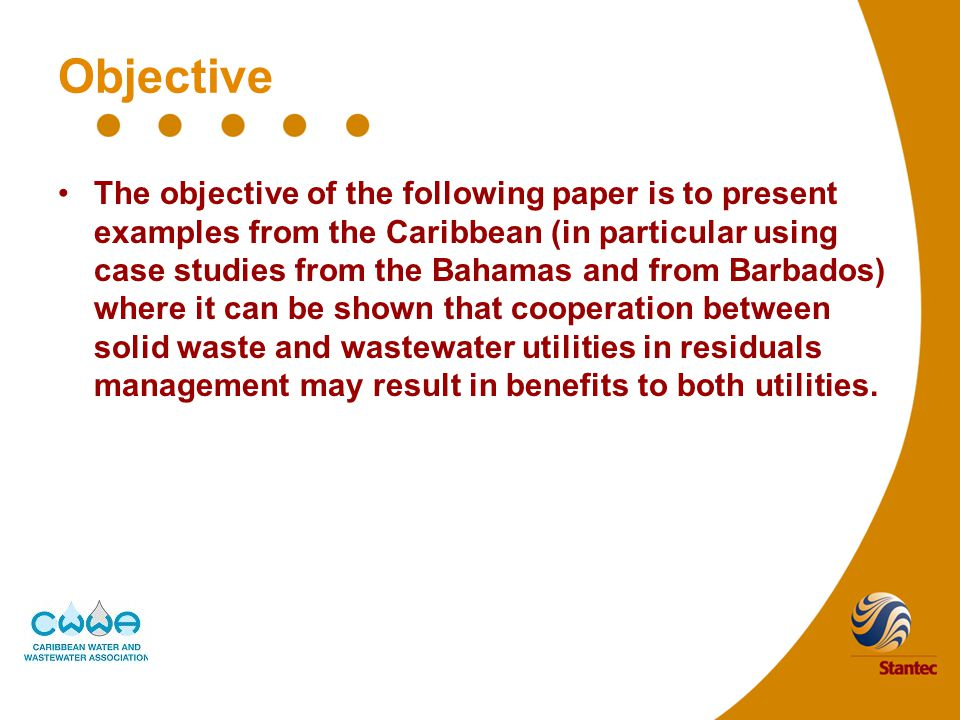Objective The objective of the following paper is to present examples from the Caribbean (in particular using case studies from the Bahamas and from Barbados) where it can be shown that cooperation between solid waste and wastewater utilities in residuals management may result in benefits to both utilities.