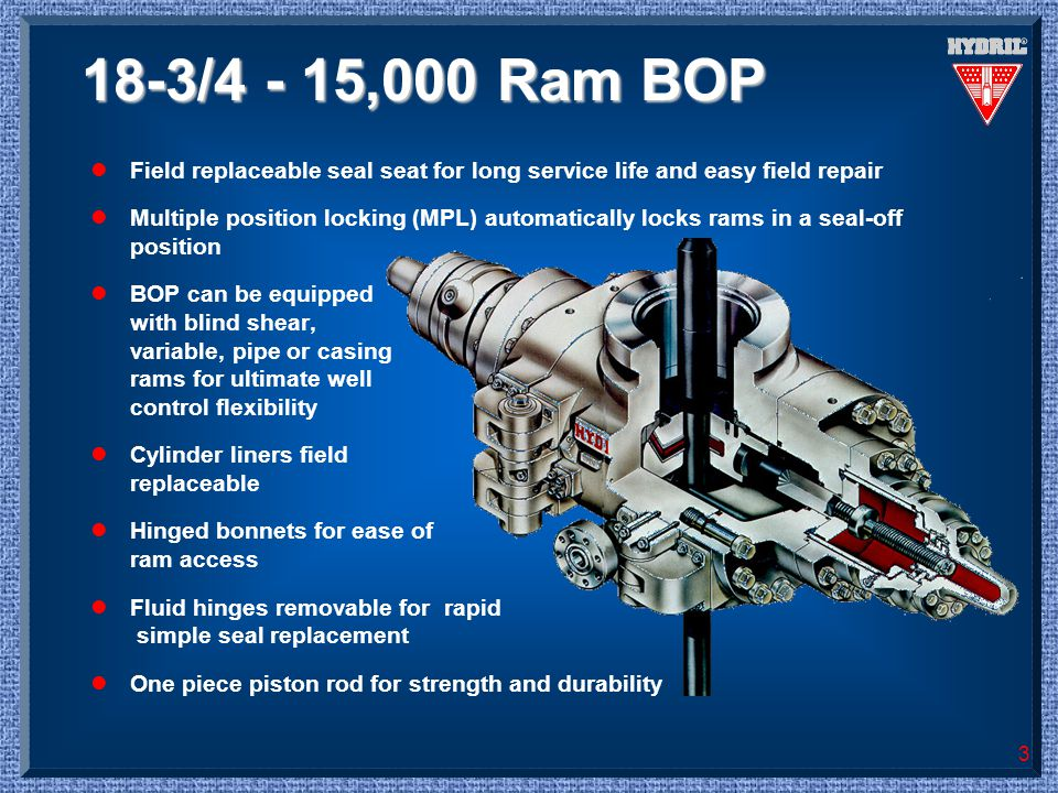 3 18-3/4 - 15,000 Ram BOP lField replaceable seal seat for long service life and easy field repair lMultiple position locking (MPL) automatically lock