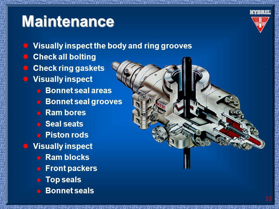 33 Maintenance lVisually inspect the body and ring grooves lCheck all bolting lCheck ring gaskets lVisually inspect l Bonnet seal areas l Bonnet seal