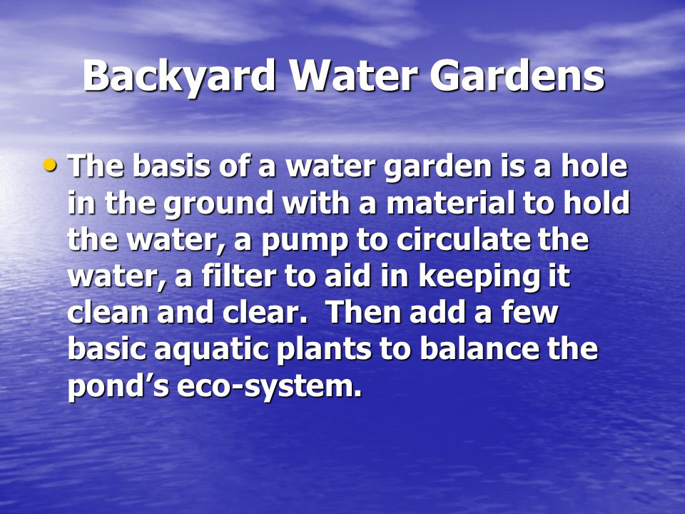 Backyard Water Gardens The basis of a water garden is a hole in the ground with a material to hold the water, a pump to circulate the water, a filter to aid in keeping it clean and clear.