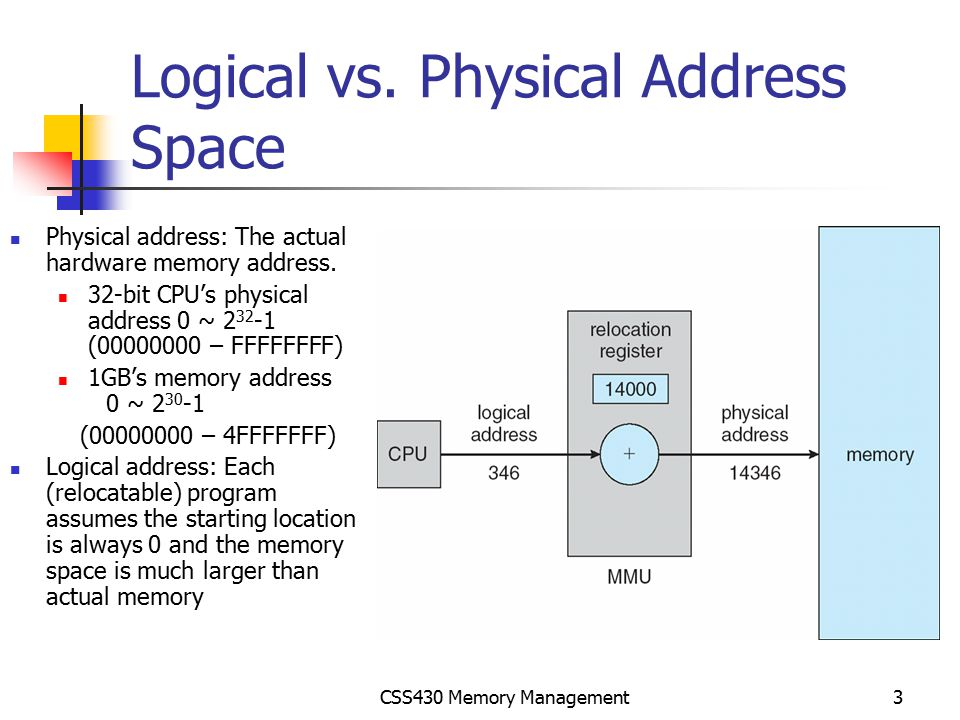 CSS430 Memory Management34 Exercises Cont'd (No turn-in) Code Segment (Segment #0)Data Segment (Segment #1) Page#AddressContents 00 (0000) 1 (0001) 2 (0010) 3 (0011) 14 (0100) 5 (0101) 6 (0110) 7 (0111) 28 (1000) 9 (1001) 10 (1010) 11 (1011) 312 (1100) 13 (1101) 14 (1110) 15 (1111) Page#AddressContents 00 (0000) 1 (0001) 2 (0010) 3 (0011) 14 (0100) 5 (0101) 6 (0110) 7 (0111) 28 (1000) 9 (1001) 10 (1010) 11 (1011) 312 (1100) 13 (1101) 14 (1110) 15 (1111)