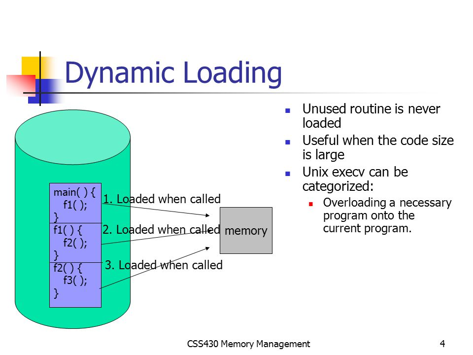 CSS430 Memory Management25 Segmentation Architecture Logical address = Segment length Segment starting address STBR(Segment Table Base Register) Very resemble to a contiguous memory allocation, while a process consists of several meaningful segments STLR(Segment Table Length Register) Segment S