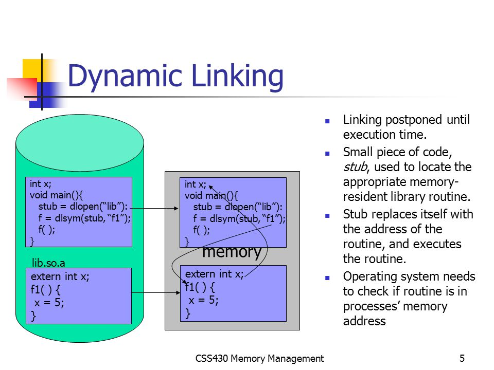 CSS430 Memory Management6 Swapping When a process p1 is blocked so long (for I/O), it is swapped out to the backing store, (swap area in Unix.) When a process p2 is (served by I/O and ) back to a ready queue, it is swapped in the memory.