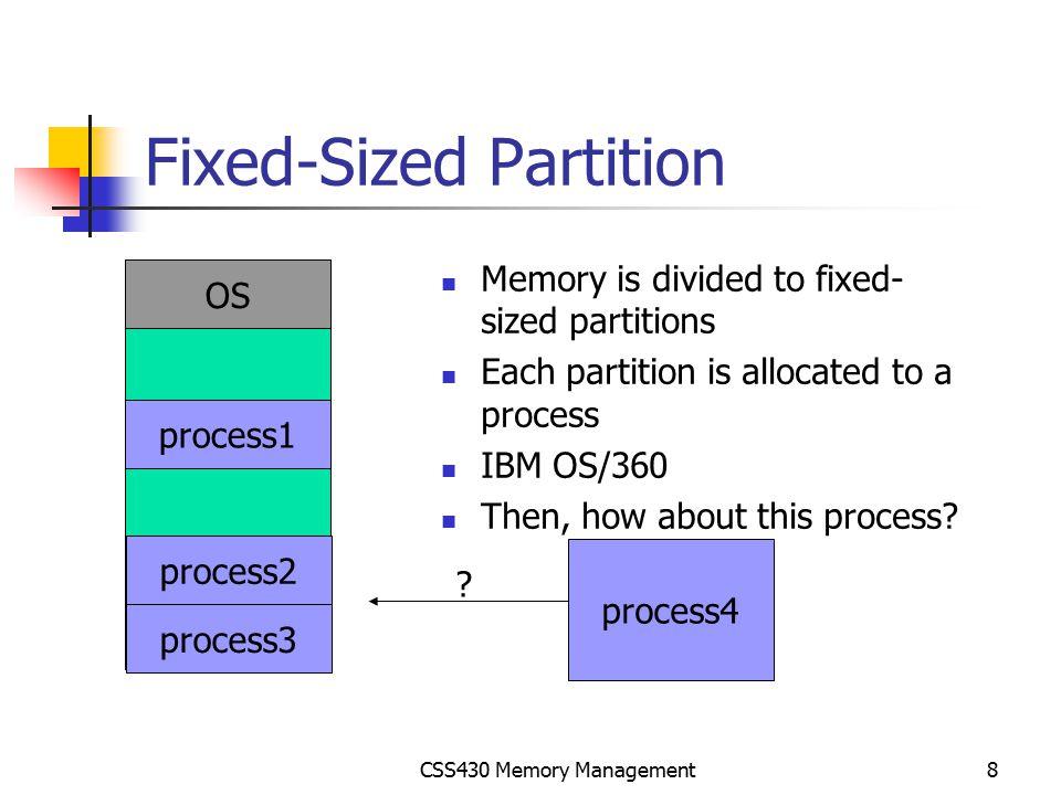 CSS430 Memory Management29 Segmentation with Paging – Intel Pentium Segment table Segment#(13bits), Gbit(1bit) global(Shared) or local segment, Protection(2bits) 4GB(32 bits) base   offset P1(10bits) P2(10bits) (12bits)