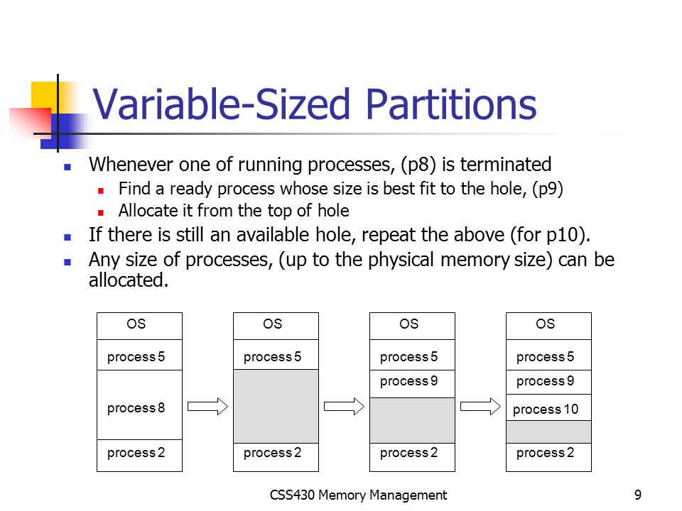 CSS430 Memory Management10 Dynamic Storage-Allocation Problem First-fit: Allocate the first hole that is big enough.
