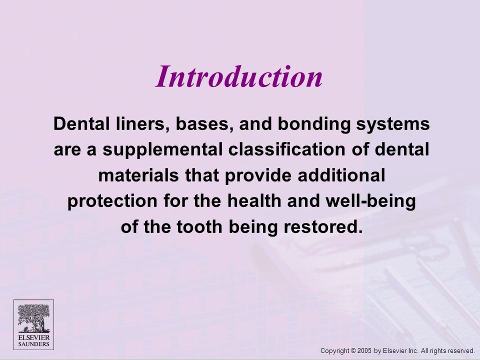 Copyright © 2005 by Elsevier Inc. All rights reserved. Introduction Dental liners, bases, and bonding systems are a supplemental classification of den