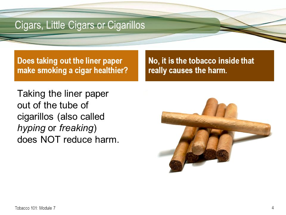 Tobacco 101: Module 75 Cigars, Little Cigars or Cigarillos Slide 3: –Smokefree.gov.