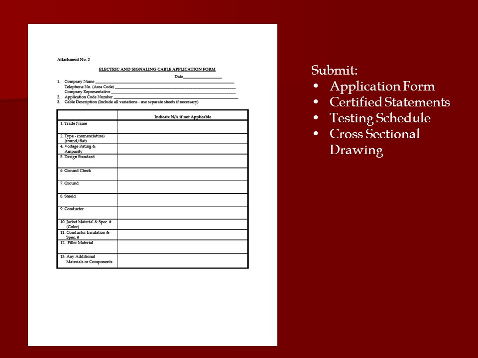 Submit: Application Form Certified Statements Testing Schedule Cross Sectional Drawing