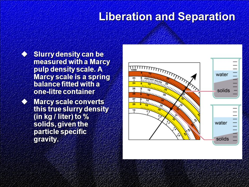 Liberation and Separation  Slurry density can be measured with a Marcy pulp density scale.