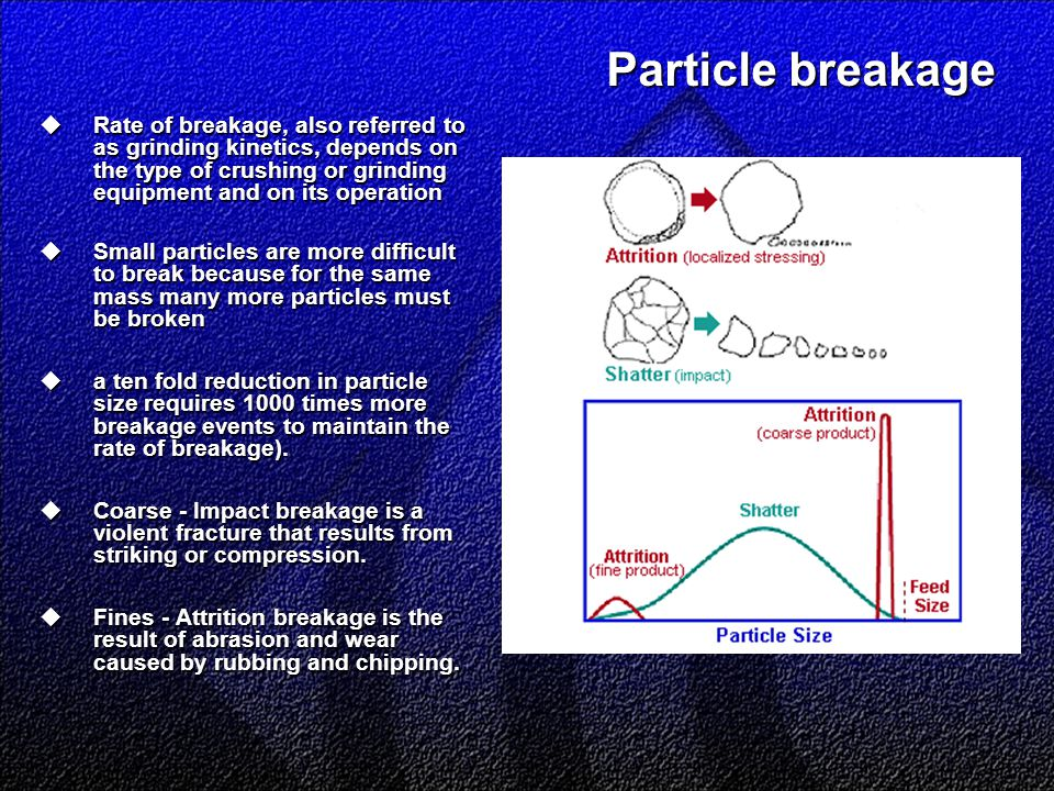 Particle breakage  Rate of breakage, also referred to as grinding kinetics, depends on the type of crushing or grinding equipment and on its operation  Small particles are more difficult to break because for the same mass many more particles must be broken  a ten fold reduction in particle size requires 1000 times more breakage events to maintain the rate of breakage).
