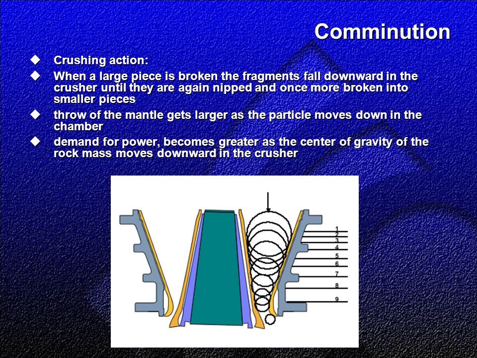 Comminution  Crushing action:  When a large piece is broken the fragments fall downward in the crusher until they are again nipped and once more bro
