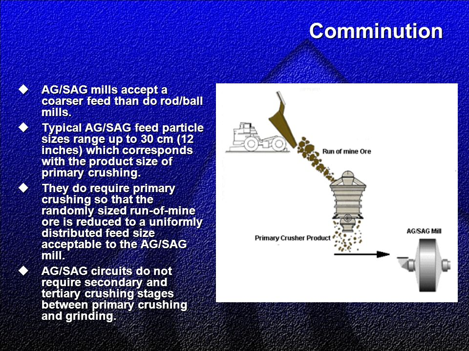 Comminution  AG/SAG mills accept a coarser feed than do rod/ball mills.  Typical AG/SAG feed particle sizes range up to 30 cm (12 inches) which corr