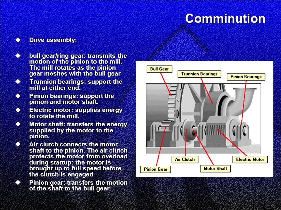 Comminution  Drive assembly:  bull gear/ring gear: transmits the motion of the pinion to the mill. The mill rotates as the pinion gear meshes with t