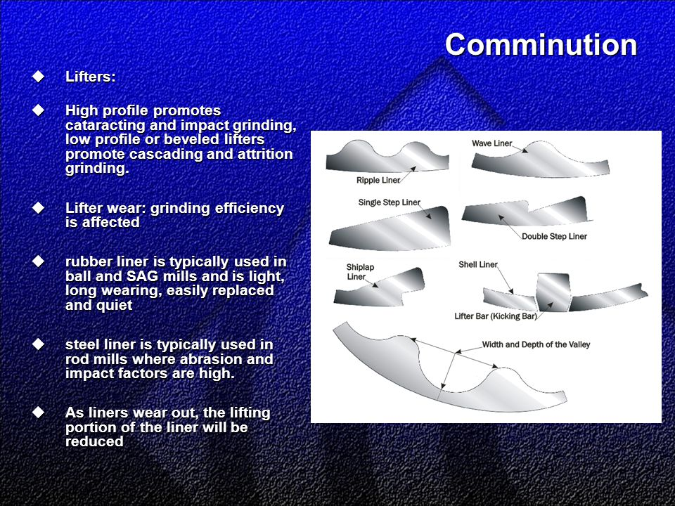 Comminution  Lifters:  High profile promotes cataracting and impact grinding, low profile or beveled lifters promote cascading and attrition grindin