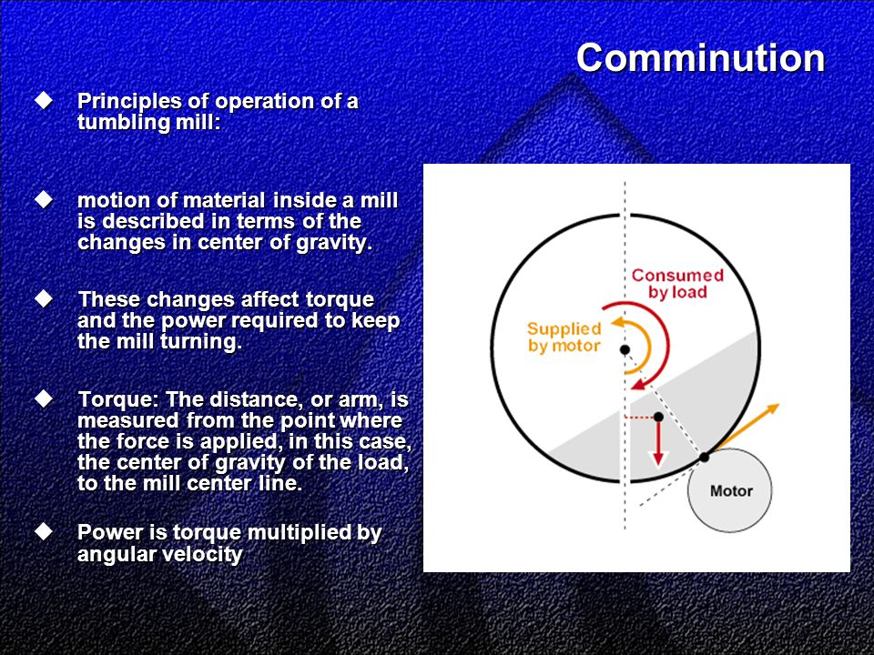 Comminution  Principles of operation of a tumbling mill:  motion of material inside a mill is described in terms of the changes in center of gravity