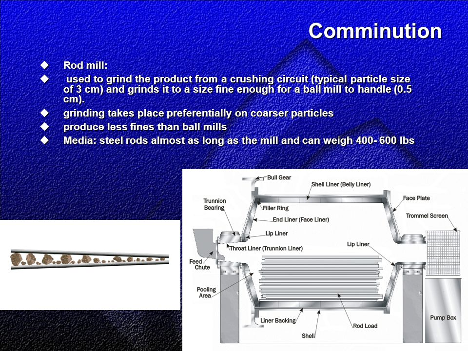 Comminution  Rod mill:  used to grind the product from a crushing circuit (typical particle size of 3 cm) and grinds it to a size fine enough for a