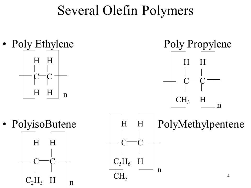 4 Several Olefin Polymers Poly Ethylene Poly Propylene PolyisoButene PolyMethylpentene CC C2H5C2H5 H HH n CC C5H6C5H6 H HH CH 3 n CC HH HH n CC H HH n